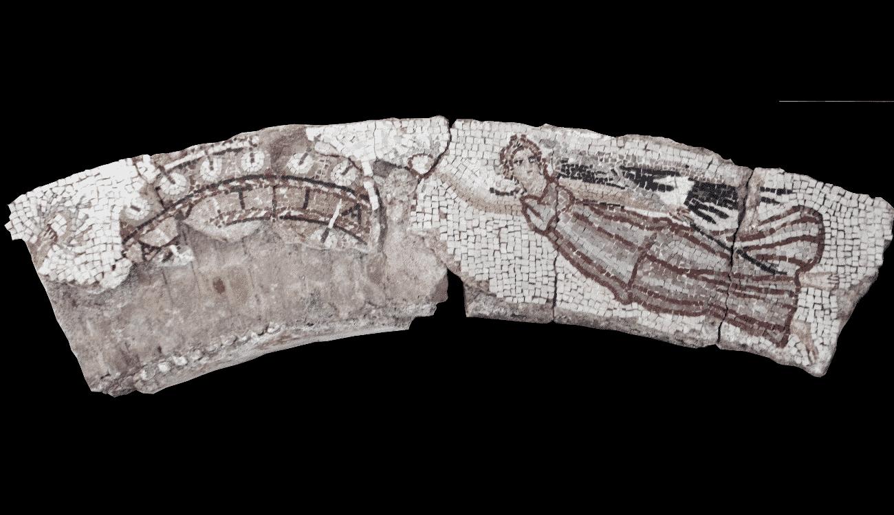 Mosaic wall decoration with Nikai and the inscription AKTIA