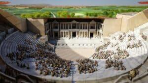 Virtual reconstruction of the cavea, orchestra and scaenea