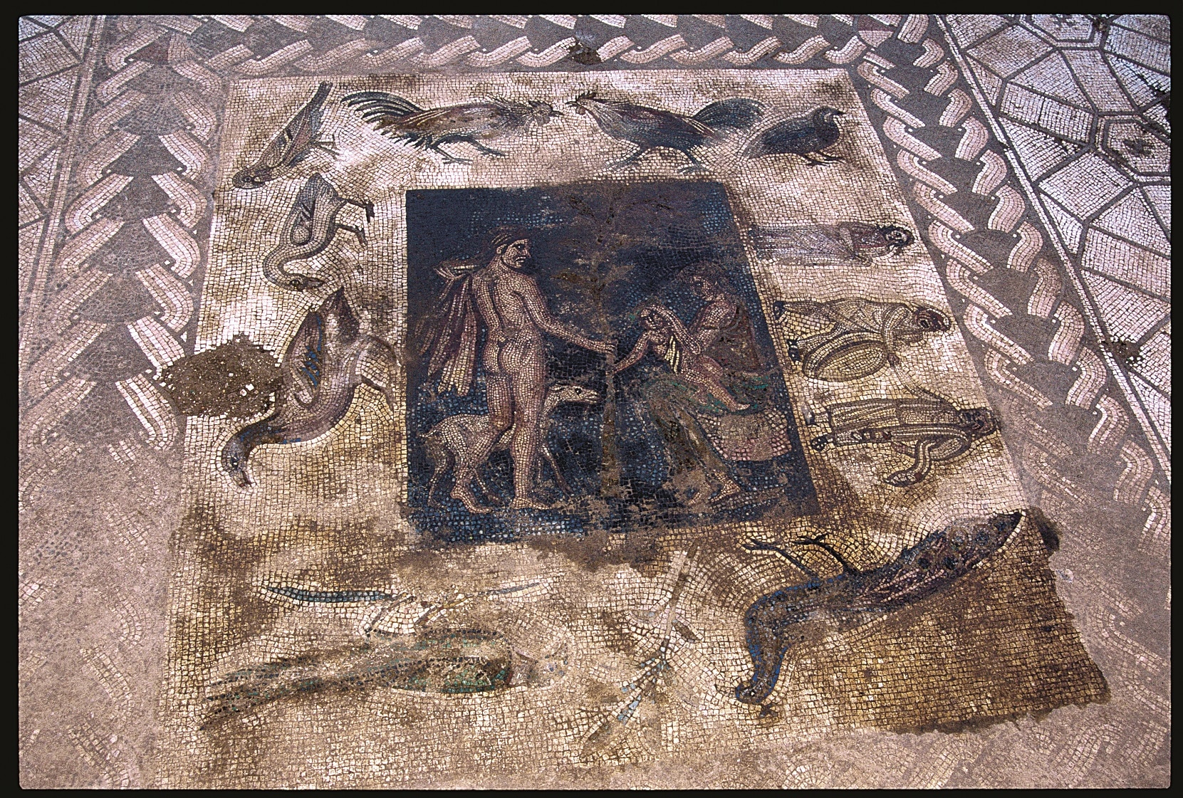 Mosaic floor with scene inspired by Bacchus